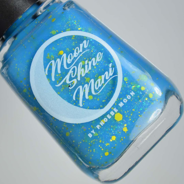 bright blue glitter nail polish in a bottle