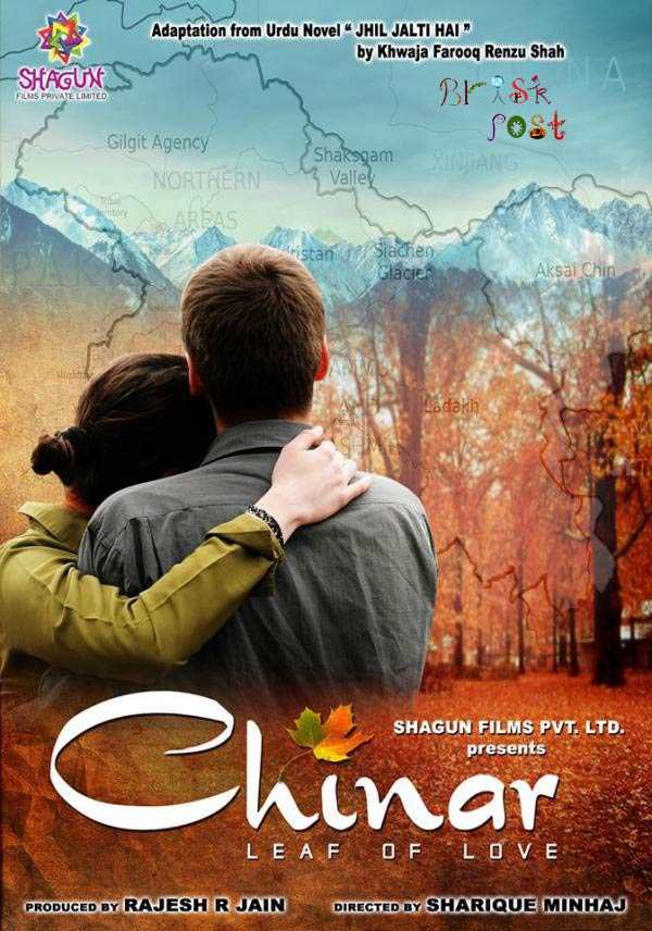 Faisal Khan and Inayat Sharma with leaf of love in Bollywood movie Chinar Daastaan-E-Ishq poster
