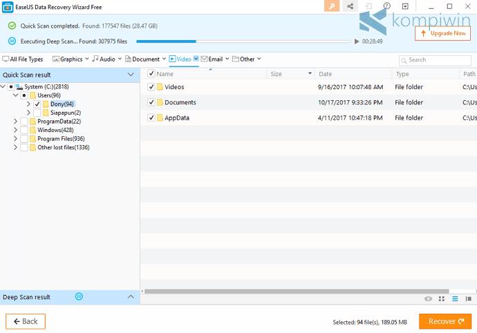 scanning file data yang terhapus di komputer