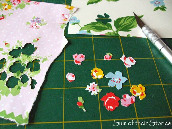 paper cutting flowers for a decoupage bangle
