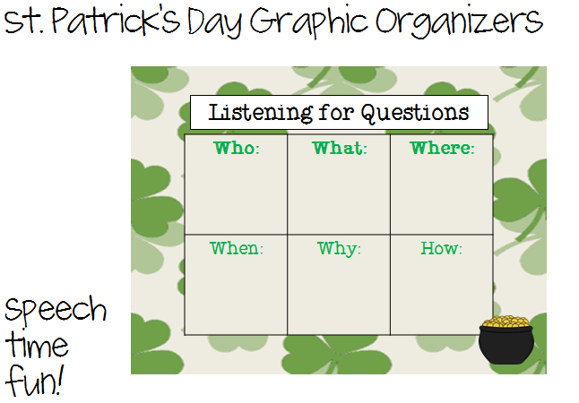 St. Patrick's Day Graphic Organizers FREEBIE! - Speech ...