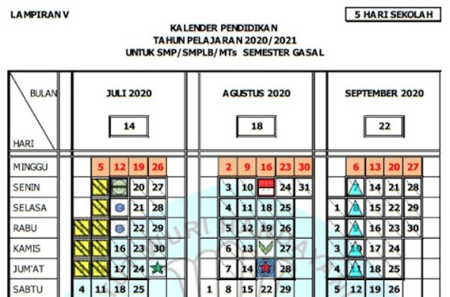 Kalender Pendidikan Tahun Pelajaran 2020/2021 Jawa Tengah