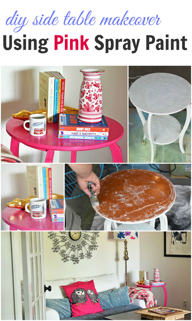 diy side table makeover with pink spray paint - an easy, fun project to add a flirty, feminine touch to your home #crafts #paint #diy