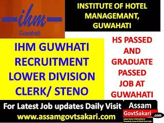 Institute of Hotel Management, Guwahati Recruitment 2019