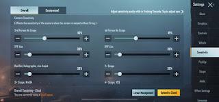 Setting Sensitivity PUBG Mobile Pro Player