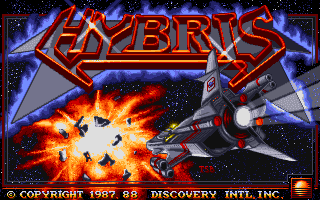 Captura de la pantalla de título de Hybris, Commodore Amiga, 1988. Se muestra el título y debajo una nave junto a una explosión espacial