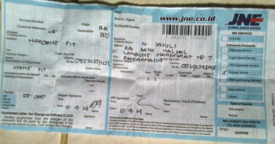Bukti Pengiriman Waroengpit[dot]com porworejo ke M.jasuli Banjarmasin yang terbukti toko online terpercaya