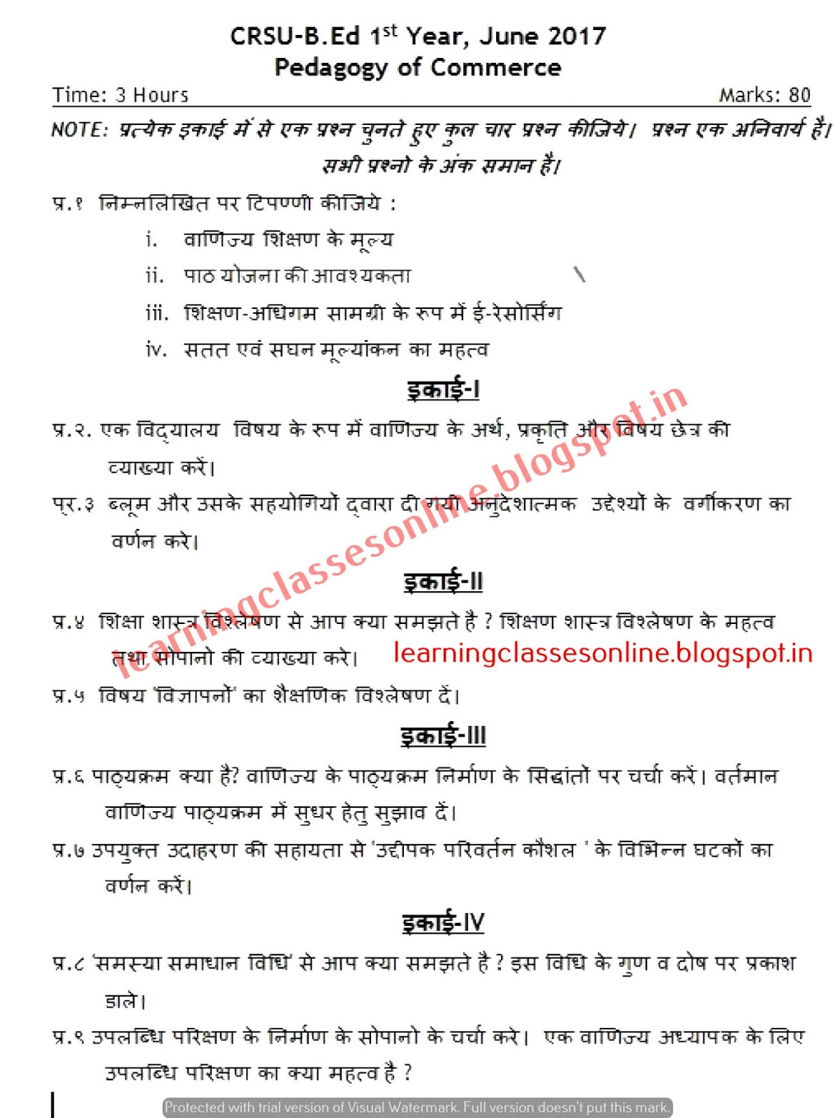 Pedagogy of Commerce Question paper