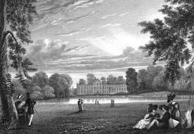 Kensington Palace from the fashionable walk in Kensington Gardens  from Views in Kensington Gardens by J Sargeant (1831)