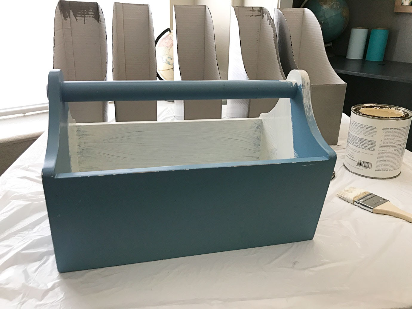 Farmhouse Blue Tool Box Thrift Store Makeover