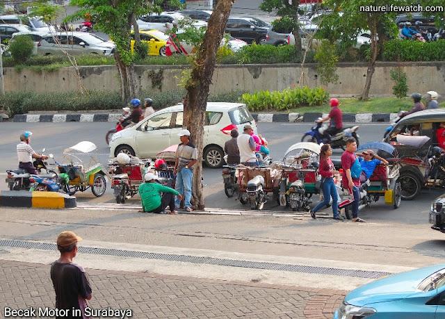 Becak Motor di kota Surabaya