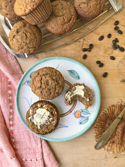 These easy Brown Sugar Banana Muffins are mild tasting and flavoured with coffee and a little molasses.