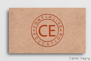 Graphic of a recycled paper business card with a continuing education logo