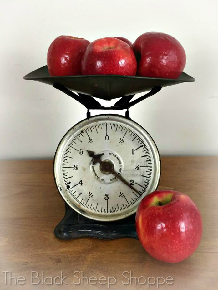 Vintage Bay City Hardware Company Scale with apples.