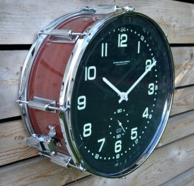 Jam dinding dari drum.