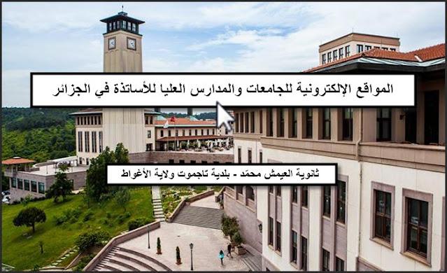 المواقع الإلكترونية للجامعات الجزائرية