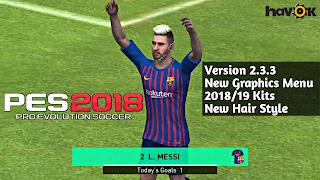 PES 2018 Mobile 2.3.3 Patch New Graphics Menu 18/19 Kits