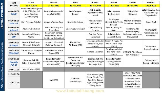 jadwal program belajar dari rumah bdr tvri 13 - 19 juli 2020 tomatalikuang.com