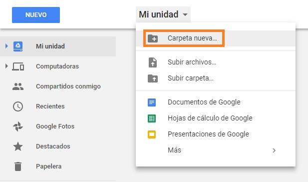 crear carpeta publica google drive