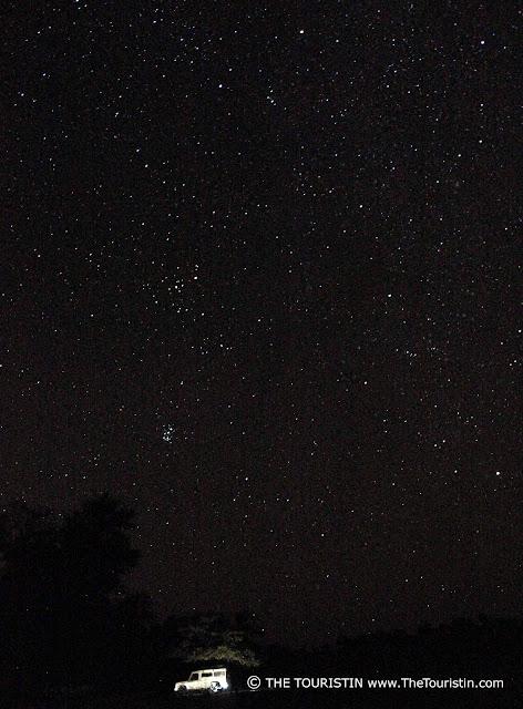 Land Rover under a night sky full of stars.