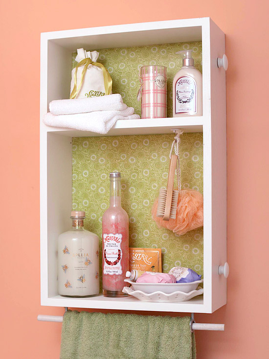 recycled dresser drawers with some paint and wallpaper make perfect open cabinets