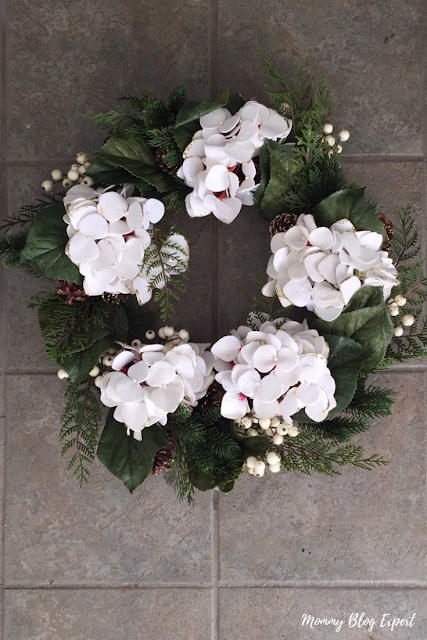 Faux Hydrangea Floral Holiday Wreath