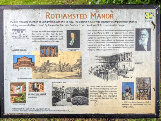 Information board at Rothamsted Manor