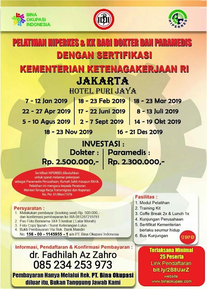 Pelatihan HIPERKES Jakarta 2019 Untuk Dokter dan Paramedis Penyelenggara PT Bina Okupasi Indonesia