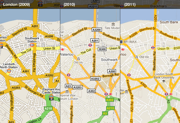Google Lat Long Evolving The Look Of Google Maps Redux - Evolving map of us