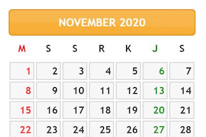 KALENDER BULAN NOVEMBER TAHUN 2020