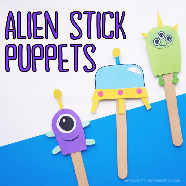 Alien stick puppets craft
