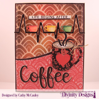 Stamp/Die Duos: Perk Up, Cocoa & Coffee Paper Collection: Latte Love Mixed Media Stencil: Hills Custom Dies: Pierced Rectangles, Leafy Edged Borders, Coffee Heartbeat, Sentiment Strips