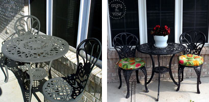 wrought iron bistro set before painting on left - after painting and recovering round seat pillows on right