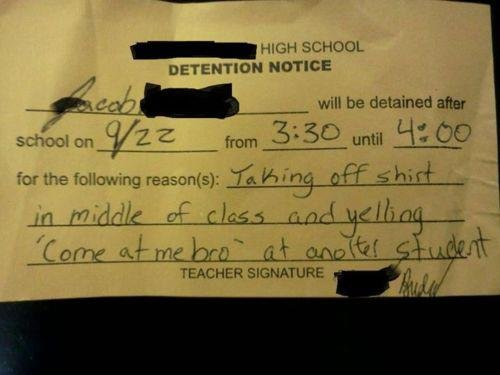 High School Quiz Detention Notice Funny Test Answer