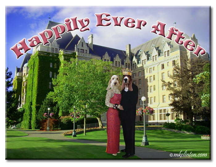 "Castle with ""humanized"" GBGV dog and Basset Hound dressed in formal wear"