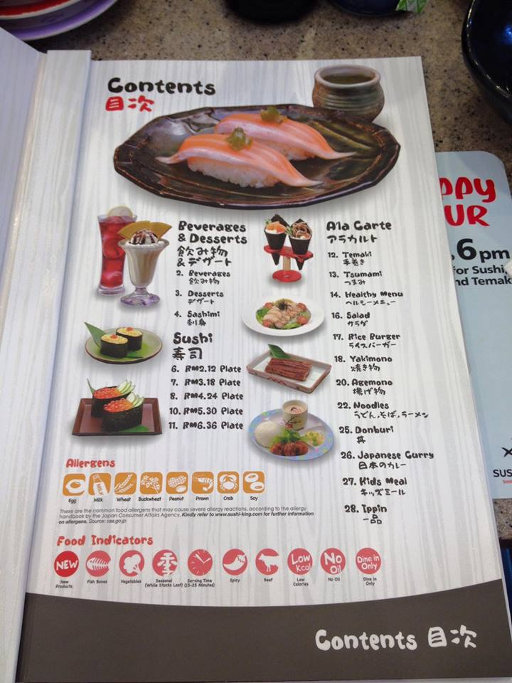 SUSHI KING Online MENU Price and Details