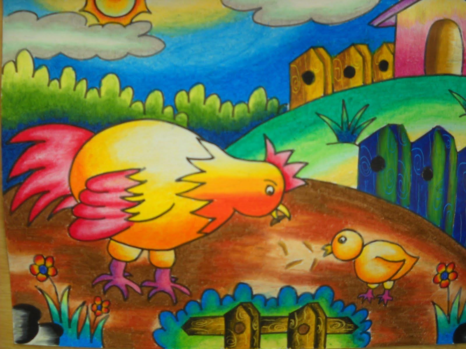 contoh hasil karya anak dalam mewarnai gambar