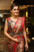 Tapsee Pannu Latest Stills in Red Silk Saree at Anando hma Pre Release Event .COM 0066.JPG