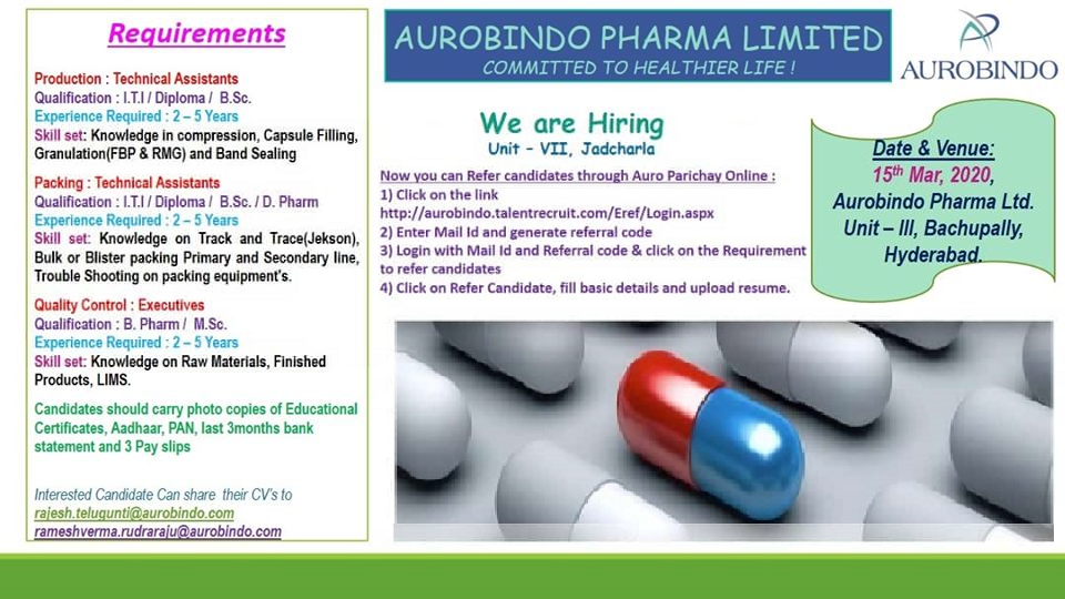 Aurobindo Pharma Ltd - Walk-In Interviews for Production | Packing | Quality Control on 15th Mar' 2020