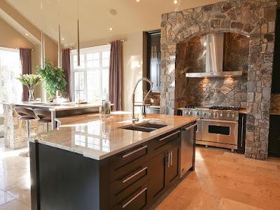 cocina enchape piedra