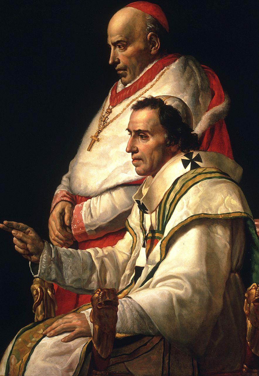 Pio VII reinou de 1800 a 1823. Quadro de Jacques-Louis David,1805.  Pio VII era o Papa no tempo do anúncio. Tudo parece indicar que não se referia a ele.