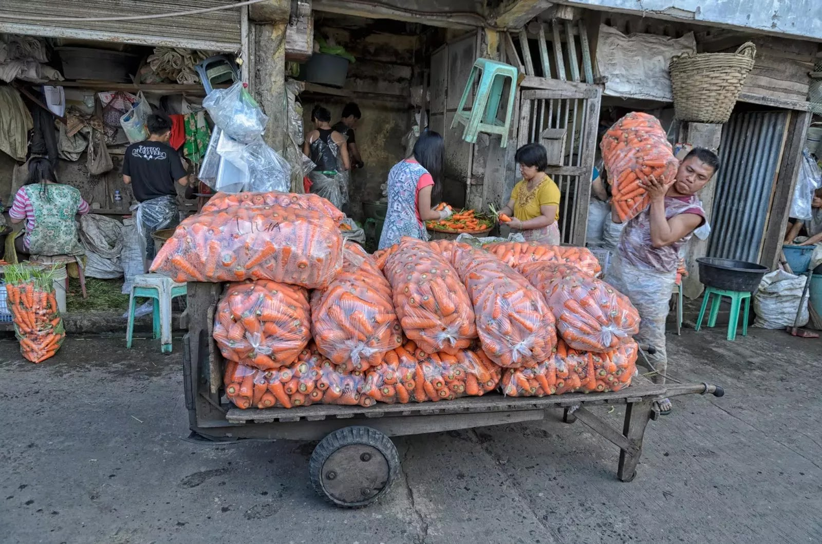 Porter Fresh Carrot Produce Trading Baguio City Market Hanger Section  Cordillera Administrative Region Philippines