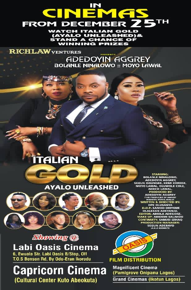 Star Actress, Doyin Aggrey Unveils New Movie As 'Italian Gold' Hits Cinemas