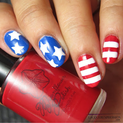 Stars and stripes nail vinyl manicure for the Fourth of July
