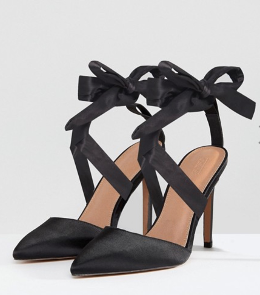 ASOS pinot satin lace up heels