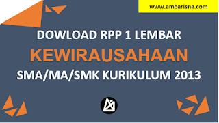 Download RPP 1 Lembar PKWU  Kelas X, XI, XI SMA/MA Kurikulum 2013