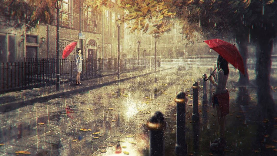 Anime Girl Raining Umbrella 4k Wallpaper 221