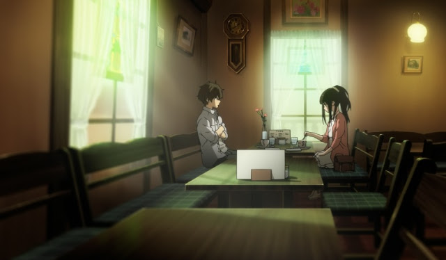 oreki chitanda hyouka cafe scene