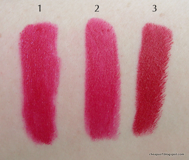 Swatches of 1. Urban Decay Vice Lipstick in Psycho; 2. Revlon Cherries in the Snow (dupe); and 3. Bite Beauty Amuse Bouche Sour Cherry.