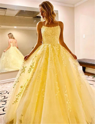 A Line Floor Length Lace Yellow Prom Dresses Spaghetti Straps
